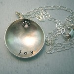 personalized stamped domed sterling silver pendant